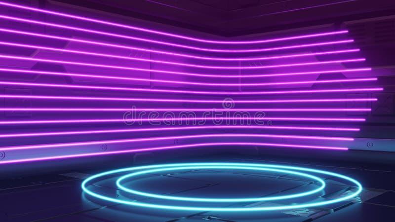 未来派在反射性金属太空飞船墙壁上的科学幻想小说摘要蓝色和紫色霓虹灯形状 设施的空的空间 皇族释放例证