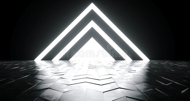 未来派在Reflec的科学幻想小说三角形状的白色发光的光 向量例证