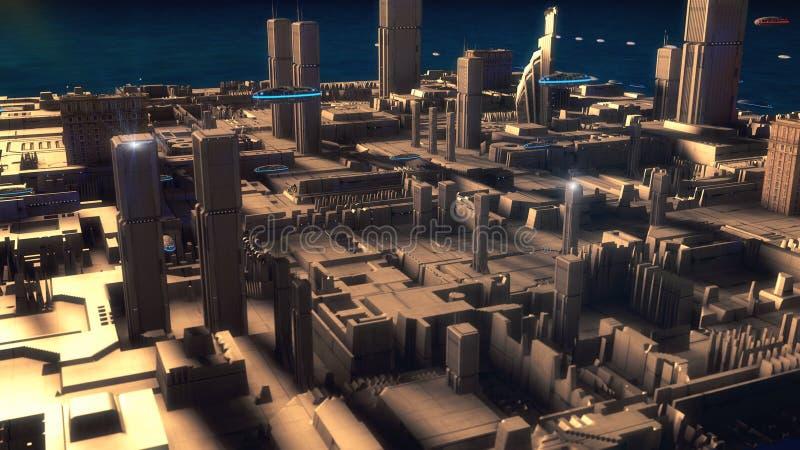 未来派城市和太空飞船 向量例证