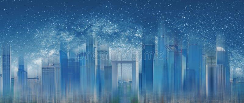 未来派城市在晚上有满天星斗的天空背景 摘要现代蓝色修造的背景 库存照片