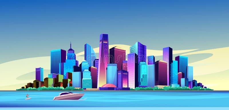 未来派城市天 皇族释放例证