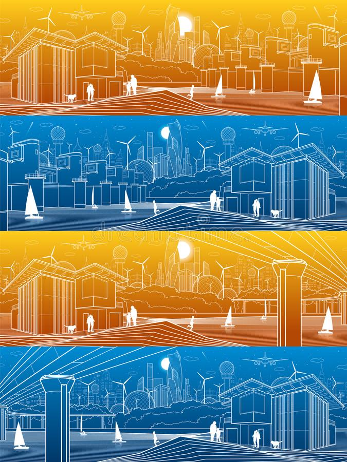 未来派城市生活基础设施全景集合 工业能量例证 水电厂 河水坝 大桥梁 人们 皇族释放例证