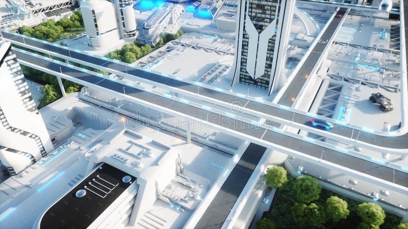 未来派城市,镇 未来的概念 鸟瞰图 3d翻译 向量例证