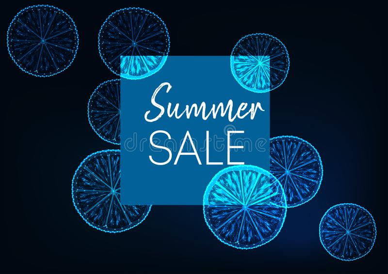 未来派夏天销售网横幅用发光的低多柠檬、方形的框架和文本在深蓝 皇族释放例证