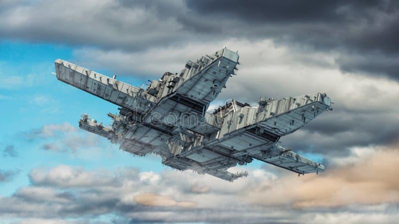 未来派外籍人太空飞船 向量例证