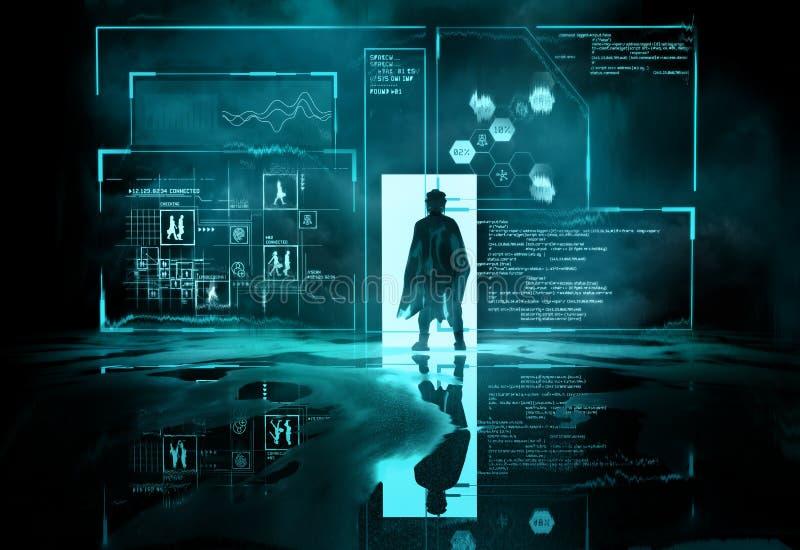 未来派太空人-程序员读书计划的信息 免版税库存图片