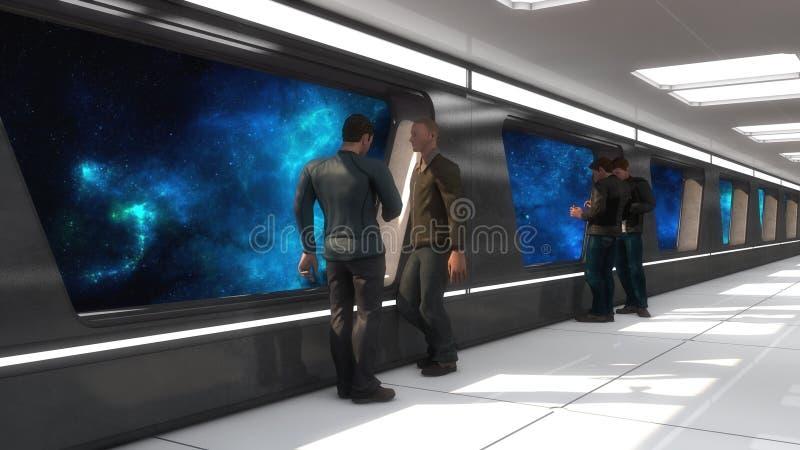 未来派太空飞船内部走廊 库存例证