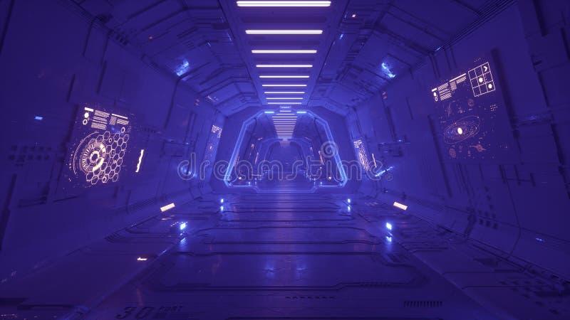 未来派太空飞船内部走廊3d回报 皇族释放例证