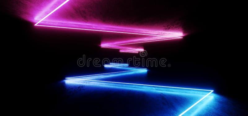 未来派太空飞船阶段科学幻想小说霓虹发光的紫色蓝色激光混乱摘要真正萤光黑暗的难看的东西具体隧道 库存例证