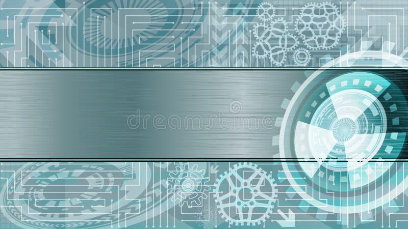未来派技术背景与齿轮和金属板材的文本的在蓝色和白色树荫下 数字技术 皇族释放例证