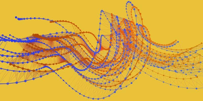 未来派抽象的背景 与小点的技术多角形样式 与微粒的网络概念 皇族释放例证