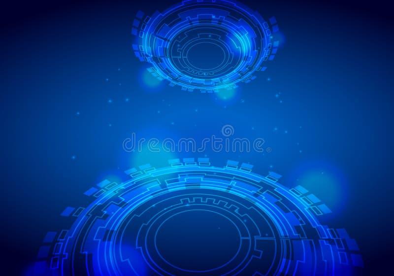 未来派接口,HUD,techno圈子,传染媒介摘要在蓝色背景的技术设计 皇族释放例证