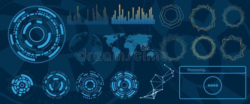 未来派接口Hud设计、Infographic元素、技术和科学,分析题材 库存例证
