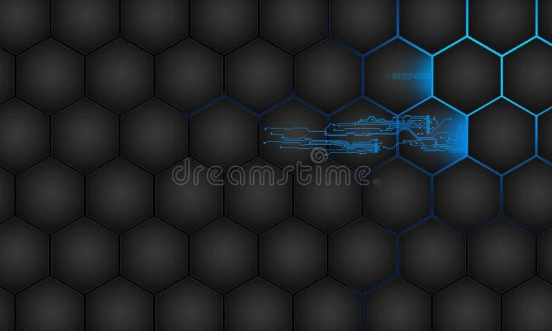 未来派摘要的技术 高科技电路板 例证高电脑技术有深蓝颜色背景 向量例证
