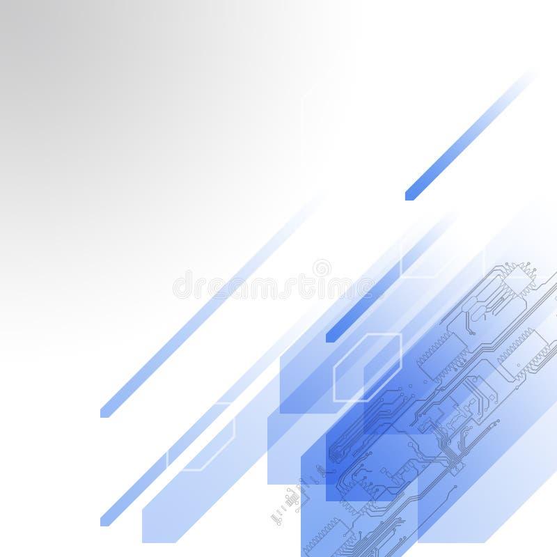 未来派摘要的技术 高科技电路板 例证高电脑技术有深蓝颜色背景 库存例证