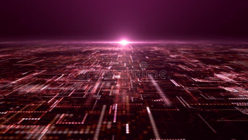 未来派数字抽象矩阵微粒栅格 免版税图库摄影
