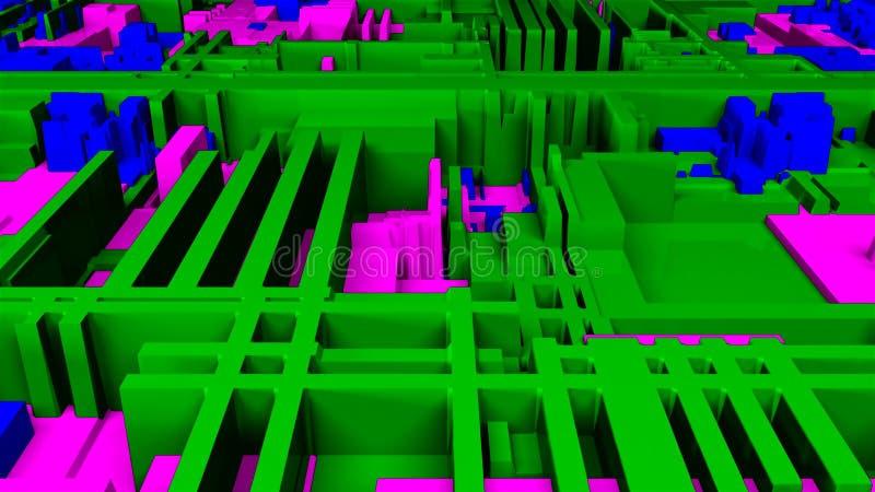 未来派明亮的电路特写镜头视图,3d背景,计算机生成的内容,未来派的电路板 皇族释放例证
