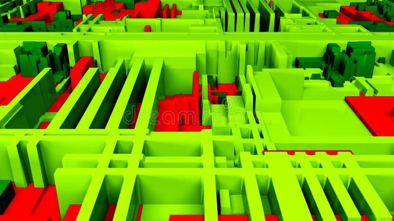 未来派明亮的电路特写镜头视图,3d背景,计算机生成的内容,未来派的电路板 向量例证