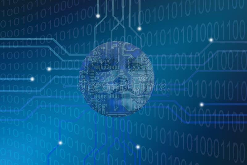 未来派有人的特点的人工智能概念二进制编码 库存例证