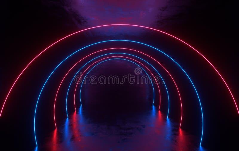 未来派有发光的科学幻想小说具体室霓虹 虚拟现实门户,充满活力的颜色,激光能来源 蓝色和桃红色氖 向量例证