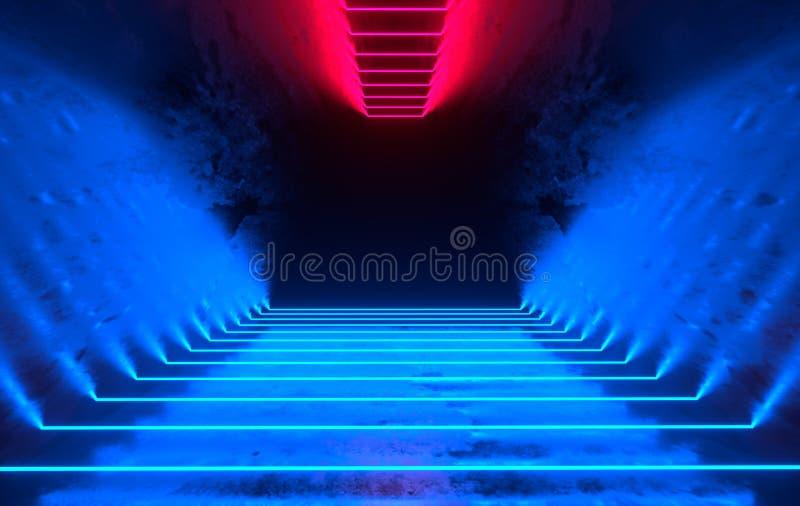未来派有发光的科学幻想小说具体室霓虹 虚拟现实门户,充满活力的颜色,激光能来源 蓝色和红色氖 向量例证