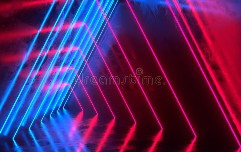 未来派有发光的科学幻想小说具体室霓虹 虚拟现实门户,充满活力的颜色,激光能来源 蓝色和红色氖 皇族释放例证