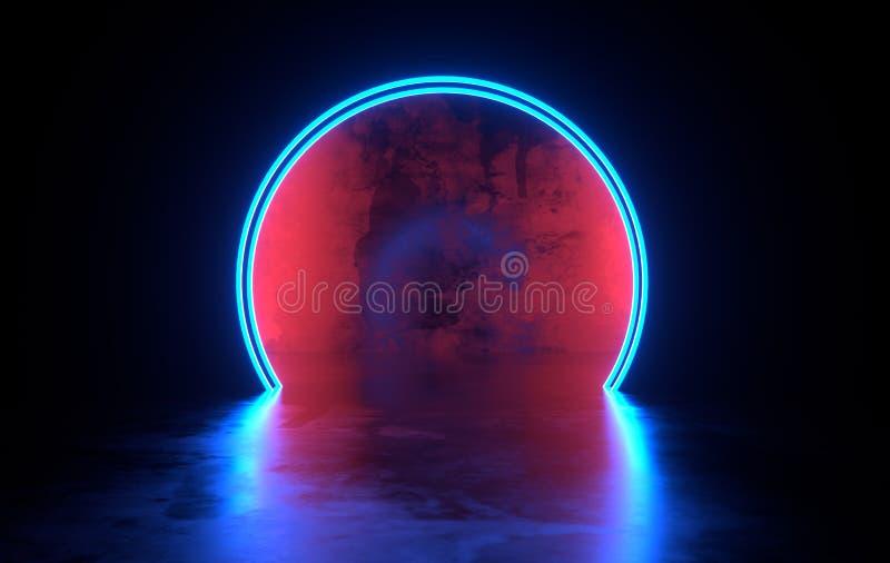 未来派有发光的科学幻想小说具体室霓虹 虚拟现实门户,充满活力的颜色,激光能来源 蓝色霓虹灯 库存例证