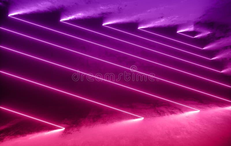 未来派有发光的科学幻想小说具体室霓虹 虚拟现实门户,充满活力的颜色,激光能来源 紫色,桃红色氖 向量例证
