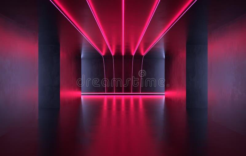 未来派有发光的科学幻想小说具体室霓虹 虚拟现实门户,充满活力的颜色,激光能来源 红色霓虹灯 皇族释放例证