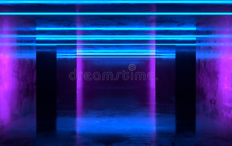 未来派有发光的科学幻想小说具体室霓虹 虚拟现实门户,充满活力的颜色,激光能来源 紫色,蓝色氖 向量例证