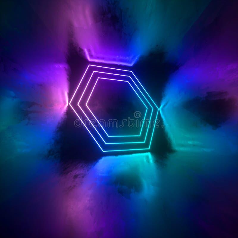 未来派有发光的科学幻想小说具体室霓虹 虚拟现实门户,充满活力的颜色,激光能来源 蓝色和桃红色氖 皇族释放例证