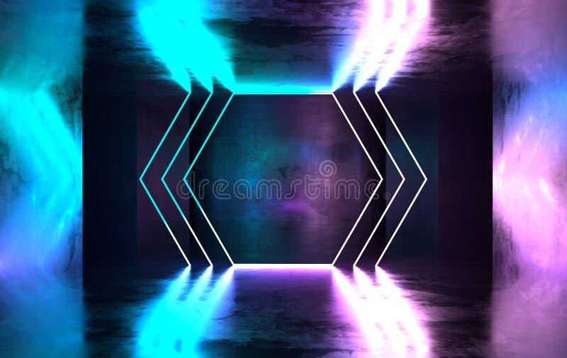 未来派有发光的科学幻想小说具体室霓虹 虚拟现实门户,充满活力的颜色,激光能来源 蓝色和桃红色氖 库存例证