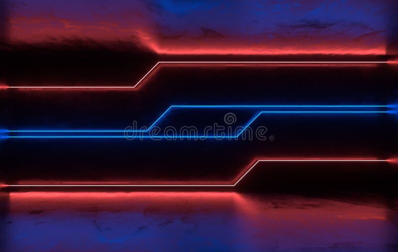 未来派有发光的科学幻想小说具体室霓虹 虚拟现实门户,计算机电子游戏,充满活力的颜色,激光能 皇族释放例证