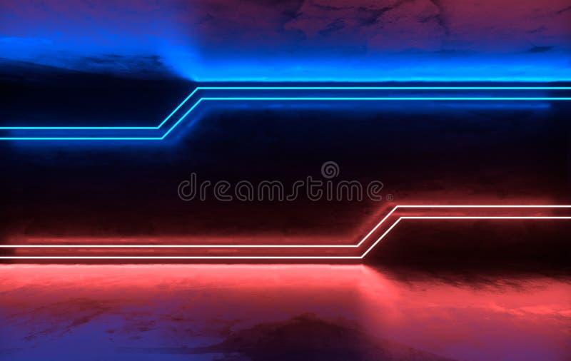未来派有发光的科学幻想小说具体室霓虹 虚拟现实门户,计算机电子游戏,充满活力的颜色,激光能 向量例证