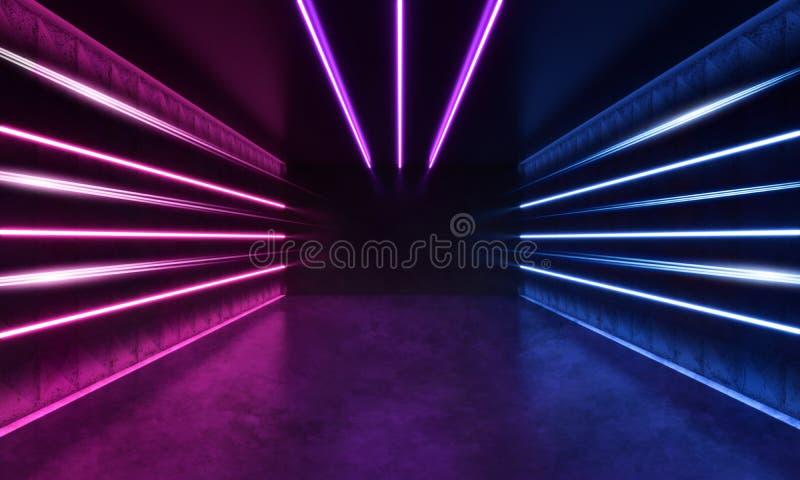 未来派有条纹的科学幻想小说现代室塑造了蓝色和紫色发光的霓虹线 向量例证