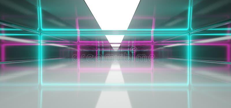 未来派有蓝色和紫色霓虹发光的L的科学幻想小说空的室 向量例证