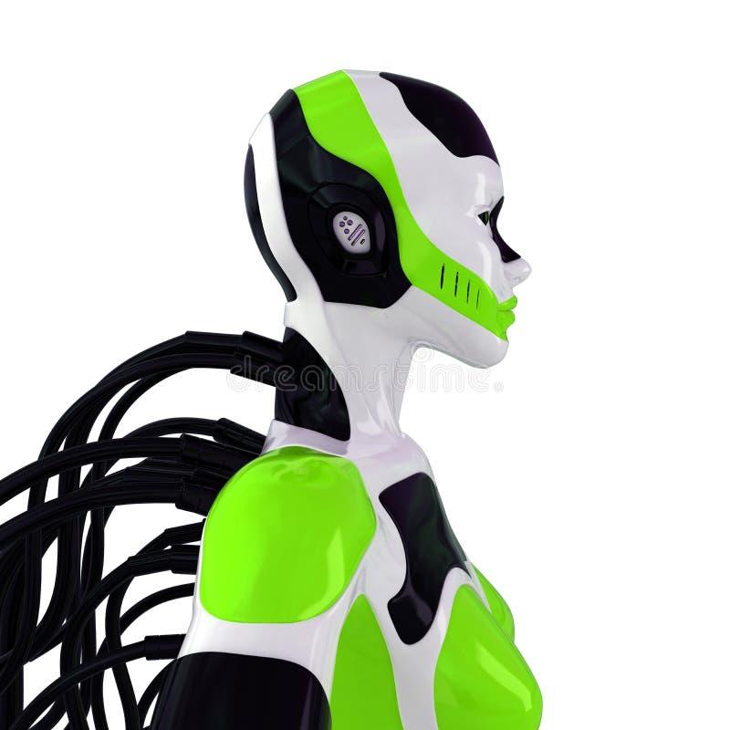 未来派机器人架线的妇女 皇族释放例证