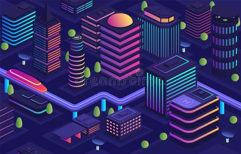 未来派样式的聪明的城市,未来城市 商业中心,安置与摩天大楼的都市大厦 向量例证