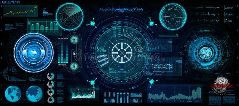 未来派概念HUD, GUI样式 屏幕 向量例证