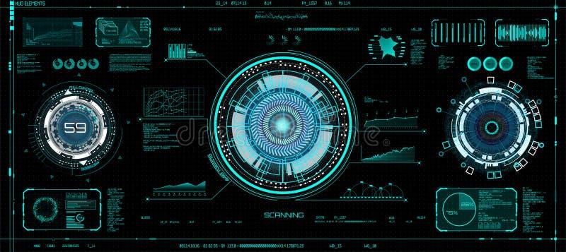 未来派概念HUD, GUI样式 屏幕VR 库存例证