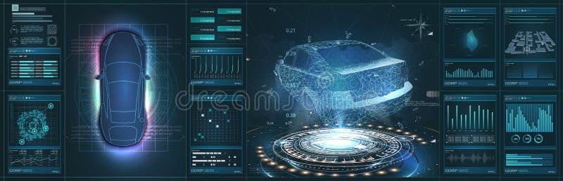 未来派汽车用户界面 HUD UI 汽车的全息图,扫描 摘要 库存例证