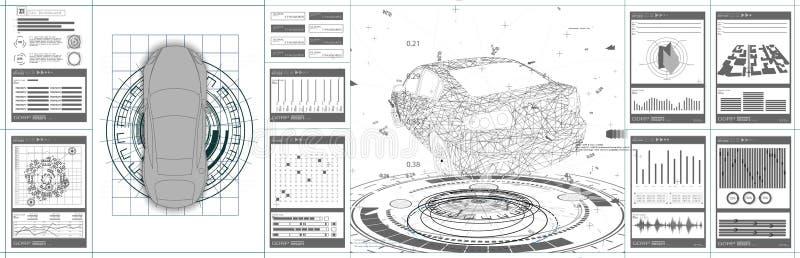 未来派汽车用户界面 HUD UI 库存例证