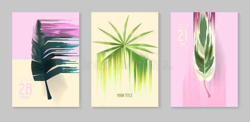 未来派热带海报设置与小故障作用 盖子的,小册子,招贴抽象热带背景 向量例证
