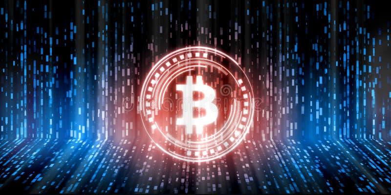 未来派现代发光的Bitcoin BTC带领了商标在蓝色二进制城市数据背景的全息图翱翔 免版税库存图片
