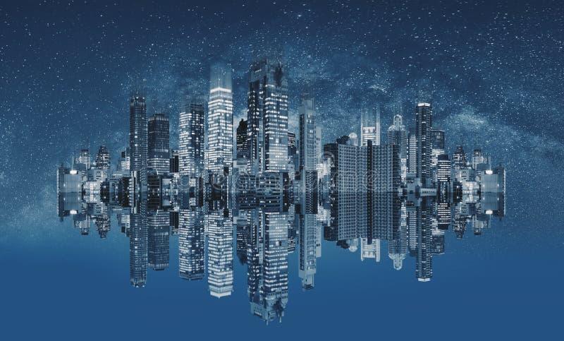 未来派现代建筑技术 与反射和满天星斗的天空的抽象都市风景 免版税库存图片