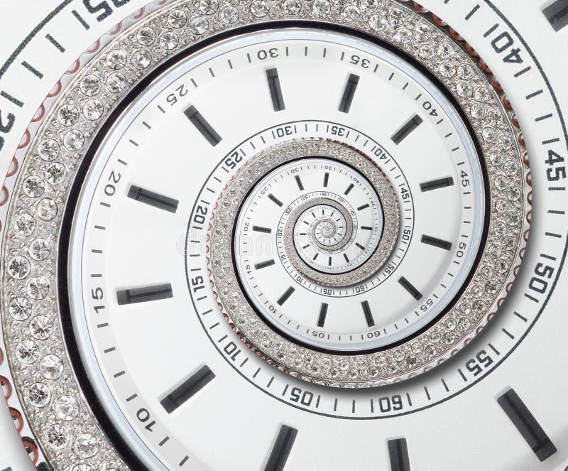 未来派现代白色报时表摘要分数维超现实的螺旋 观看时钟异常的抽象纹理样式分数维背景 库存图片
