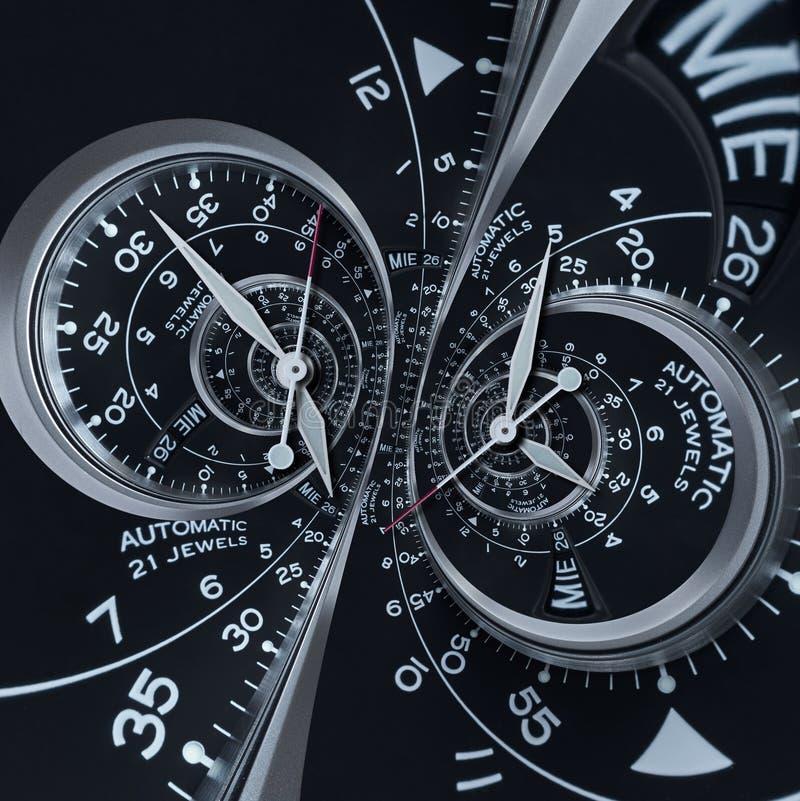 未来派现代黑银色报时表摘要分数维超现实的双重螺旋 手表时钟异常的抽象纹理样式 向量例证