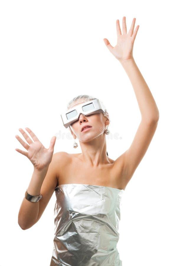 未来派玻璃事实virtural妇女 图库摄影