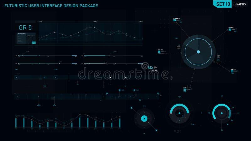 未来派用户界面设计元素集10 向量例证