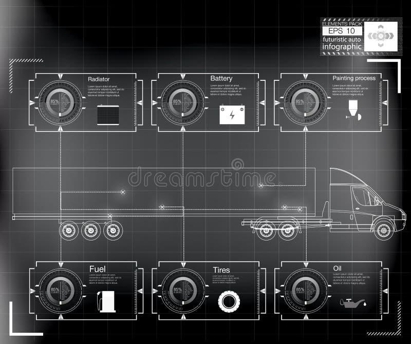 未来派用户界面 货运和运输Infographics  库存例证